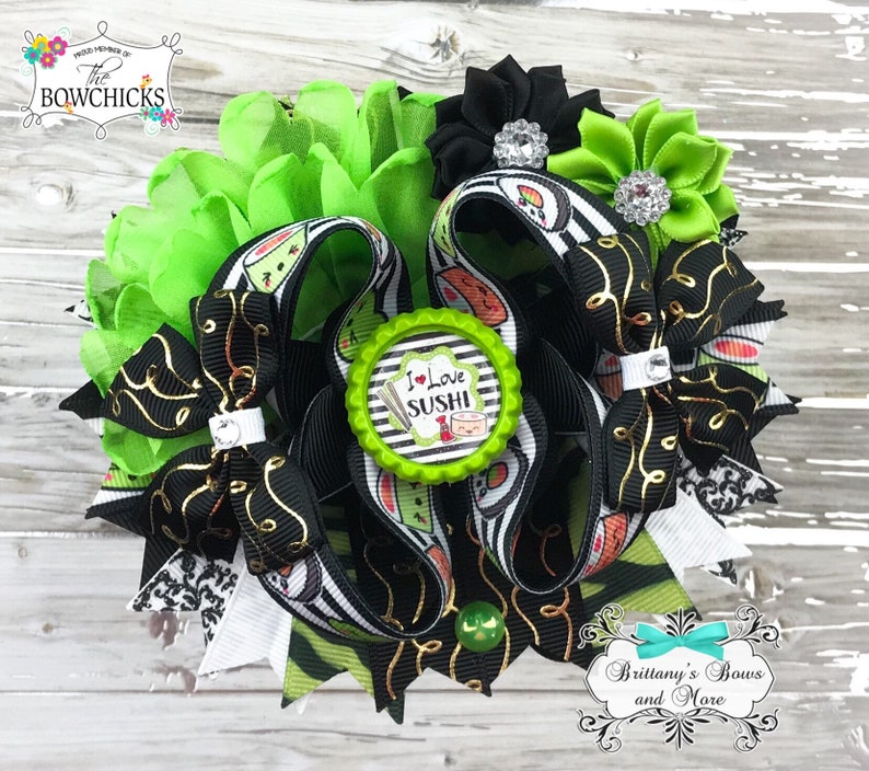 Sushi Inspired OTT Bow Over the Top Hairbow  I Love Sushi image 0
