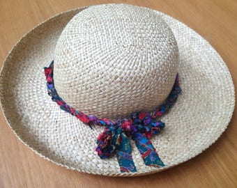 Cruise wear wide brim hat bohemian beach woven straw hat boho accessories  resort wear for women unique finds upcycled recycled repurposed d55a8c8898e9