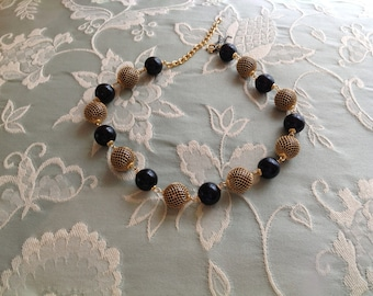Vintage Trifari Black and Gold Necklace -- PRICE REDUCED111