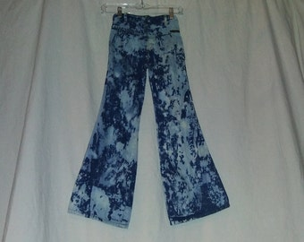 52d32f653d7c70 VTG 70 s Childrens Kids Girls 7 8   W22 Bleach Tie dye Denim High Waist  Flare Bell Bottom Jeans Disco Hippie Boho 22X25 1970s Custom