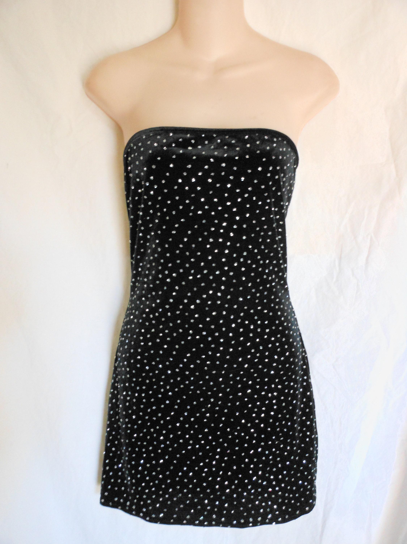 b21c0d24448f VTG 90s USA XS S Black Velvet Glitter Sparkle dots Strapless | Etsy