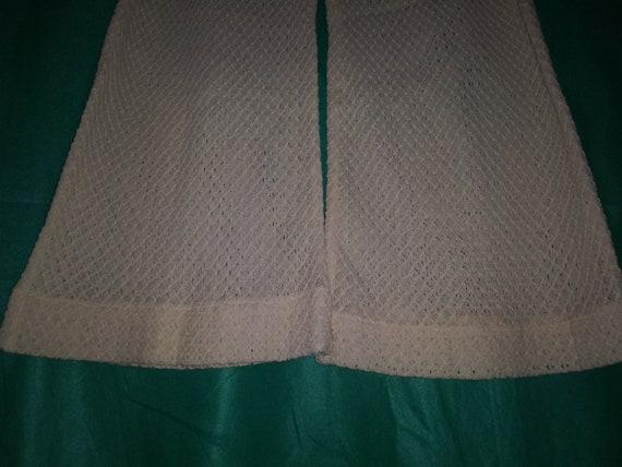 Vintage 60s 70's L Ivory Cream Off White Crochet … - image 5