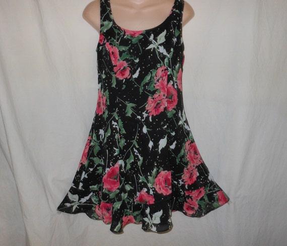 Vintage 90s USA 7 M Black Pink Floral Dollie Slouc