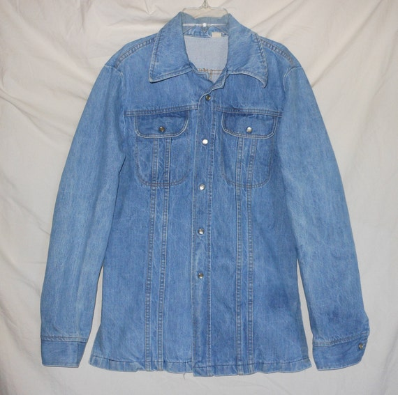 EXP Jeans Express Vintage 80s 90s  L Denim Stretch Chambray Western Tie Front Cropped Crop Top Shirt  Hippie Festival Club Kid Grunge Retro