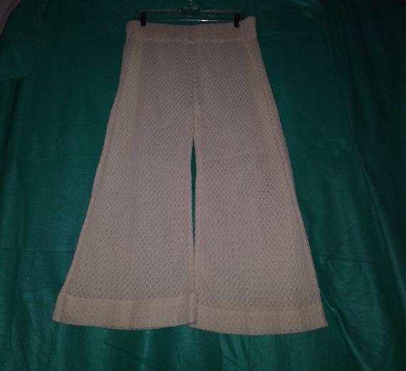 Vintage 60s 70's L Ivory Cream Off White Crochet … - image 1