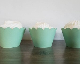 12 mint Green Scallop cupcake wrappers green cupcake wrapper pastel green scalloped cupcake wrapper