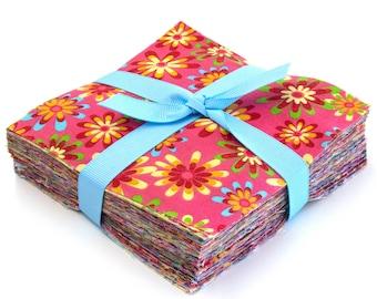 """102 piece  crazy daisy pre cut charm pack 5"""" squares 100% cotton fabric quilt"""