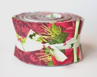 poinsettia pine jelly roll 100 cotton fabric quilt by maywood 27 pieces