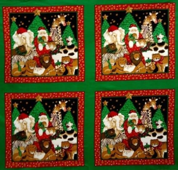 All Creatures Great And Small Fabric Panel Christmas Tree Wall Hanging Quilt
