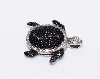 Vintage Sterling Silver Black and White DIAMOND Chip Sea Turtle Pendant for Necklace-Ocean Tortoise-Estate Jewelry