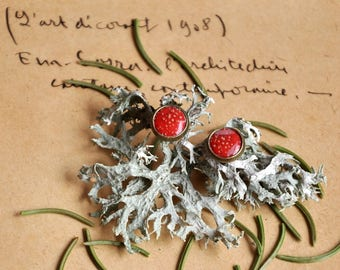 Small bronze earrings Stud Earrings red (amanita, amanita) mushroom plant jewelry