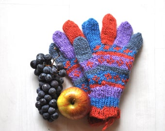 Fingers hand knitted wool gloves / mittens, blue, red, purple - Christmas gift