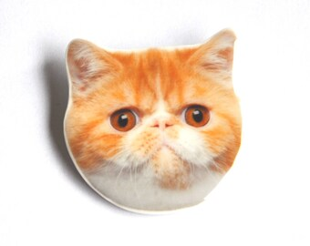 Beige Persian Cat Head PIN. Cat polymer clay and resin jewels