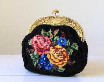 4a56d10cd89da2 Vintage floral tapestry purse  small black handbag  1950s evening clutch   vintage womens accessories  vintage bride to be