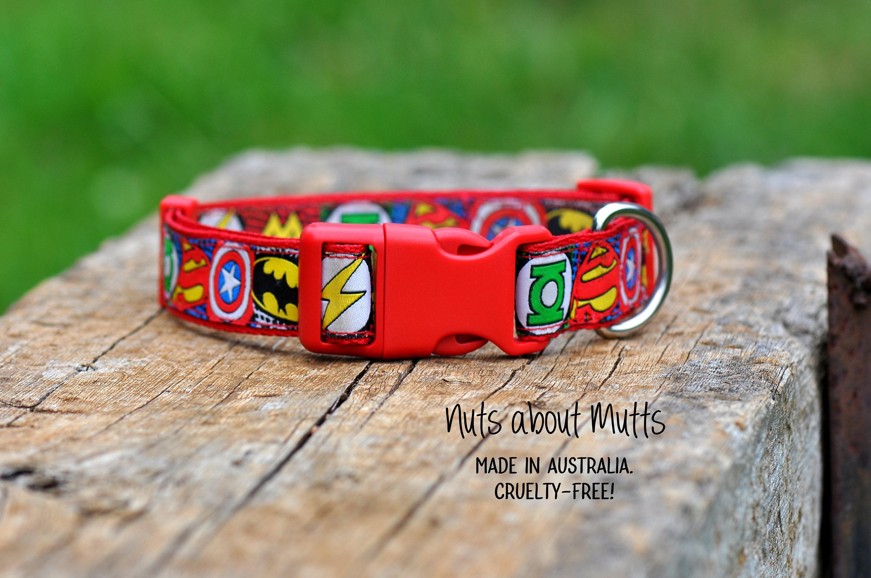Super Hero Super Heroes dog collar All sizes