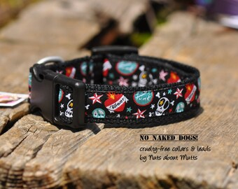 Punk Skulls dog collar small to  medium-sized dogs