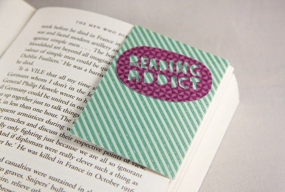 Personalised Bookmark Purple and Green Design plus any Text and Photo