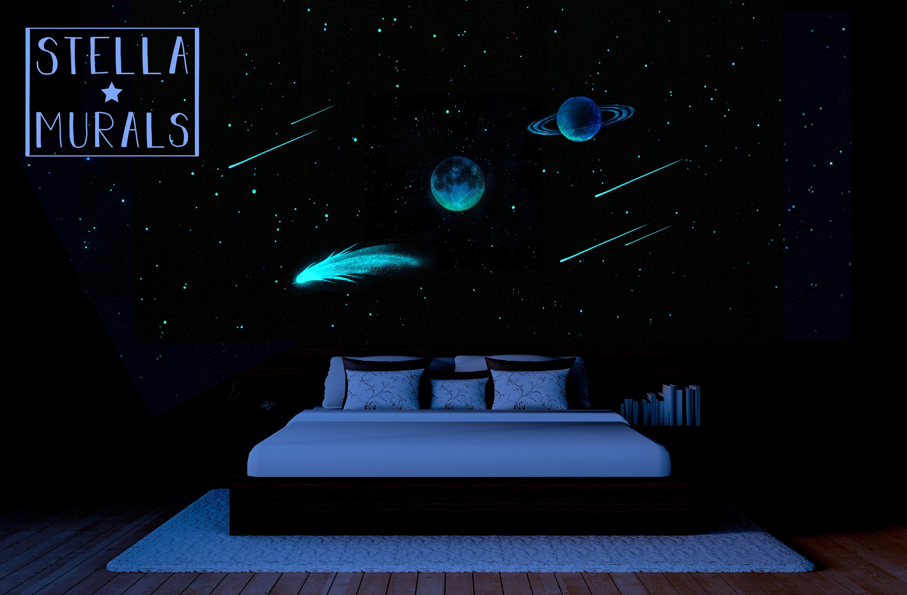 Glow In The Dark Galaxy Ceiling Space Themed Bedroom Decor Etsy