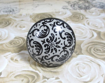 Ebony & Gray Swirl Ceramic Drawer Knob