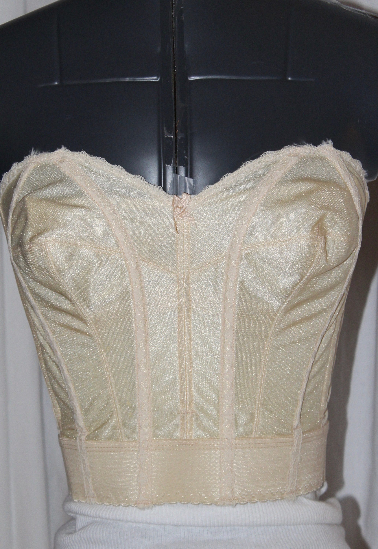 6f88bcb63f525 Vintage bustier 50 60 strapless bra long brassier nude