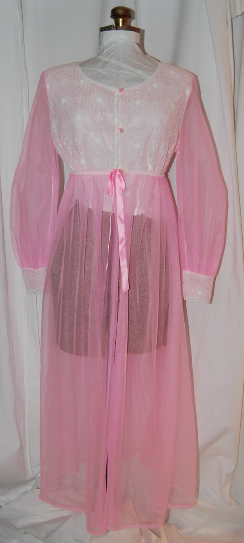 5b03e8887 Vintage sheer robe 70s robe hot pink robe vintage dressing