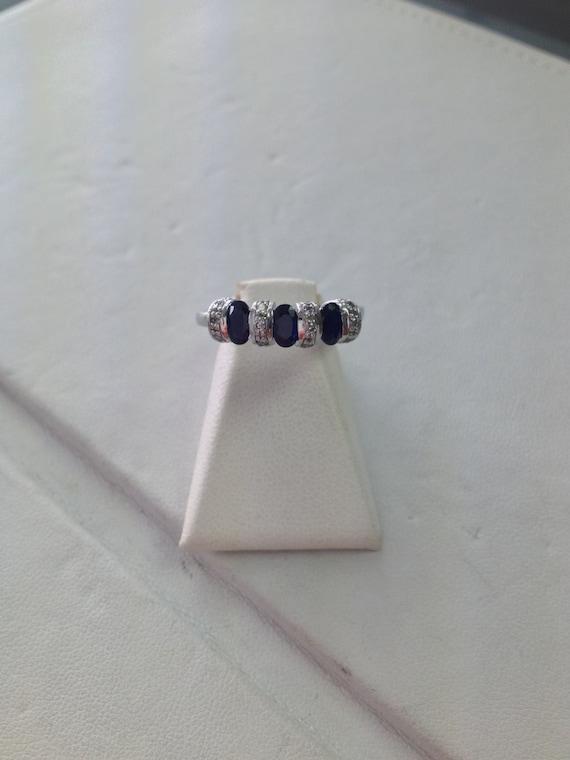 Antique Platinum Genuine Sapphire & Diamond Ring