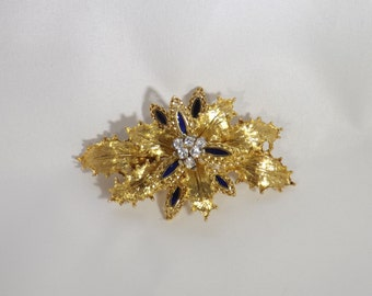 18K Yellow Gold Diamond Brooch with Blue Enamel and Filigree, leaf design