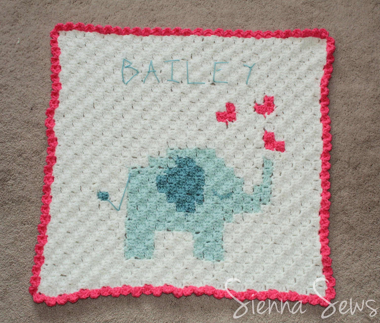 Elephant Baby Blanket C2c Crochet Pattern Corner To Corner Etsy