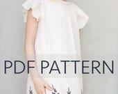 Angelica PDF, dress pattern, girl pdf, dress pdf, pdf sewing pattern, girl top pattern, blouse pattern, girl pattern, flutter sleeves,