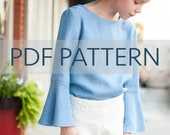 Lola Blouse PDF, girl blouse pattern, girl pdf, bell sleeve pdf, girl pattern, girl sewing, flounce collar pdf, children pattern,toddler pdf