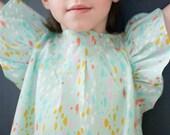 Girl Blouse, spring boho top, green child's shirt, children's clothing, girl boho, girl summer, size 1t, 2t ,3t, 4t, 5, 6, 7, 8, 10
