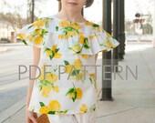 Laurel Blouse PDF, girls blouse pattern, blouse pdf, sewing patterns, children's blouse, tween pattern, ruffle top pdf, toddler pdf