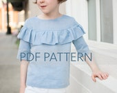 Laurel Blouse PDF, girls blouse pattern, blouse pdf, girl sewing pattern, children's blouse, tween pattern, ruffle top pdf, toddler pdf,