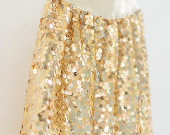 Gold Sequin Skirt, holiday skirt, gold skirt, tween holiday clothing, christmas skirt, special occasion, size 2T, 3T, 4T, 5, 6, 7, 8, 10, 12