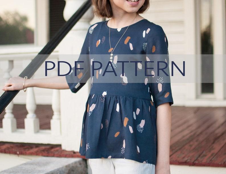 Marlow Bundle PDF girl dress peplum top pattern tween image 0