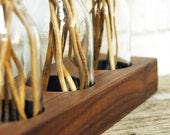 wood vase romantic, wood vase wallnut