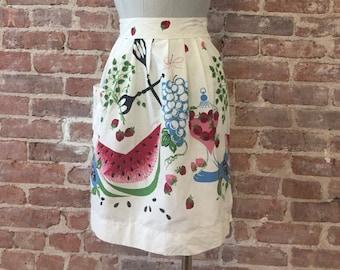 Watermelon Strawberry Apron - Summer Apron -  Mid Century MCM Apron - 1950s Kitchen - Hostess Apron