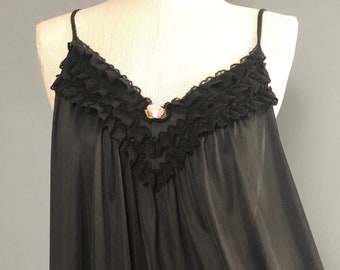 1960s Plus Size Sears Black Nightgown / Short Vintage Nightgown