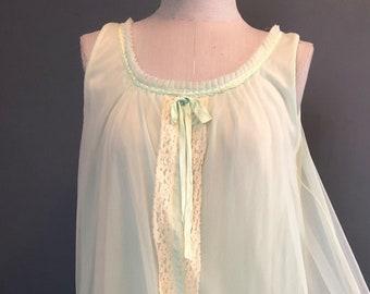 1960s Green Sherbet Chiffon Babydoll Nightgown / Vintage Short Chiffon Nightgown