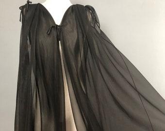 1960s Claire Haddad Black Chiffon Peignoir / Vintage Chiffon Robe / Sheer Peignoir Robe