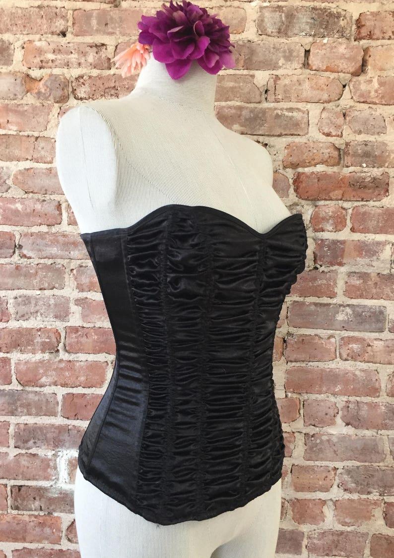 Size XS  Black FOH Corset  Fan Lacing  Vintage 1980s Lingerie  Frederick/'s of Hollywood   Corset  Bustier  Boudoir