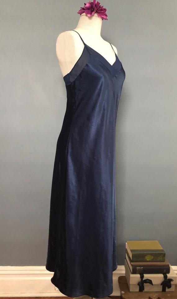 S / Halston Navy Satin Slipdress / Vintage Long S… - image 5