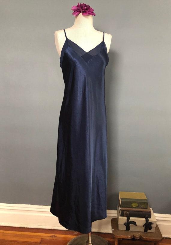 S / Halston Navy Satin Slipdress / Vintage Long S… - image 1