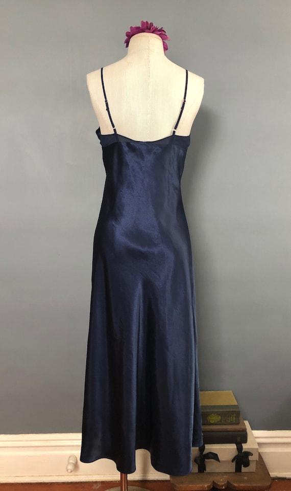 S / Halston Navy Satin Slipdress / Vintage Long S… - image 4