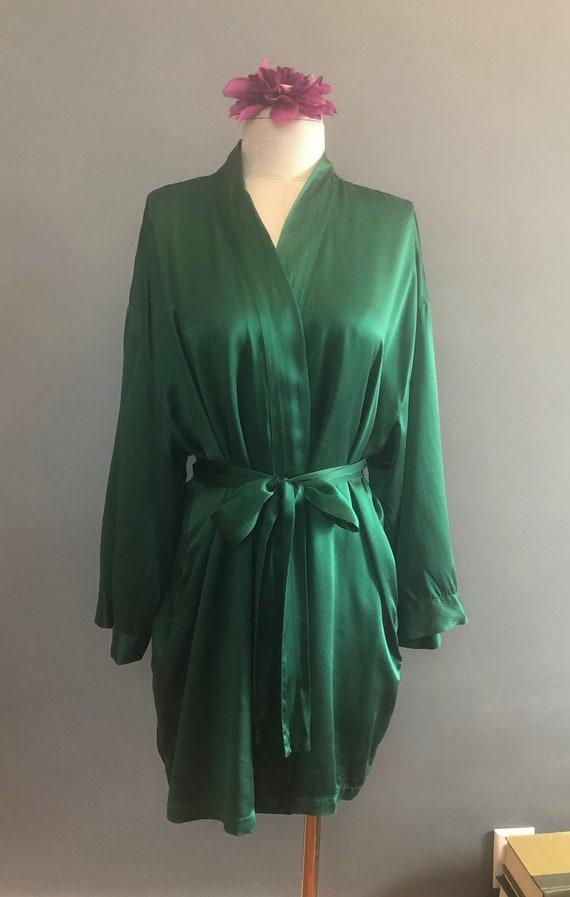 38 Bust / 90s SILK Victoria's Secret Green Robe /