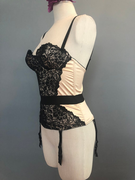 34B / Vintage French Corset / Champagne and Lace … - image 5