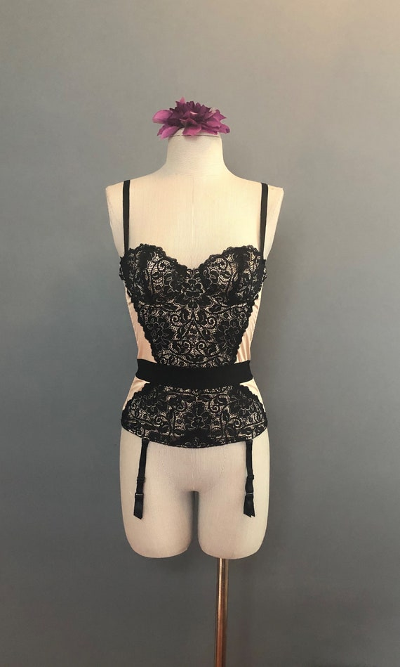 34B / Vintage French Corset / Champagne and Lace … - image 2