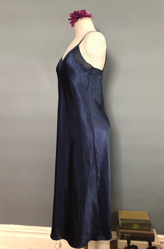 S / Halston Navy Satin Slipdress / Vintage Long S… - image 3