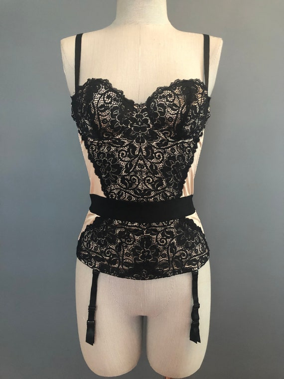 34B / Vintage French Corset / Champagne and Lace … - image 3