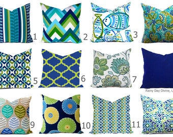 Blue Green Pillow Etsy